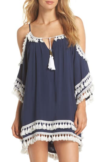 Women's Surf Gypsy Tassled Cold Shoulder Cover-Up Tunic, Size Small - Blue