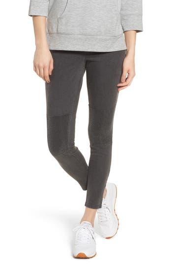 Zeza B By Hue Metallic Knee Patch Denim Skimmer Leggings, Grey