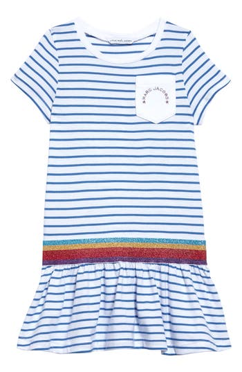 Girl's Little Marc Jacobs Drop Waist Dress, Size 8 - White