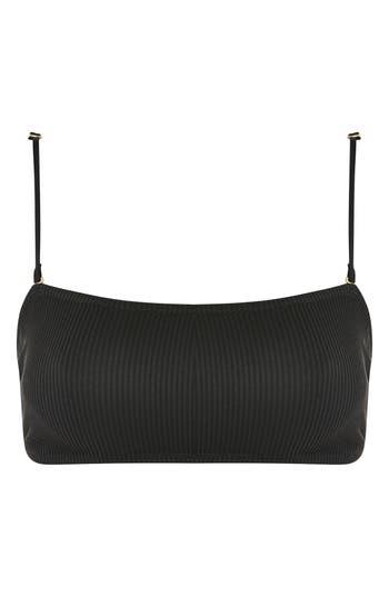 Topshop Ribbed Bandeau Bikini Top, US (fits like 16-18) - Black