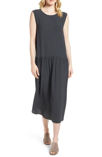Eileen Fisher Drop Waist Silk Midi Dress, Grey