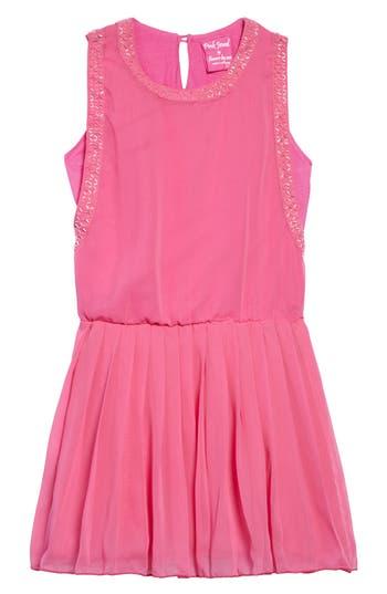 Girl's Flowers By Zoe Beaded Chiffon Dress, Size S (7) - Pink