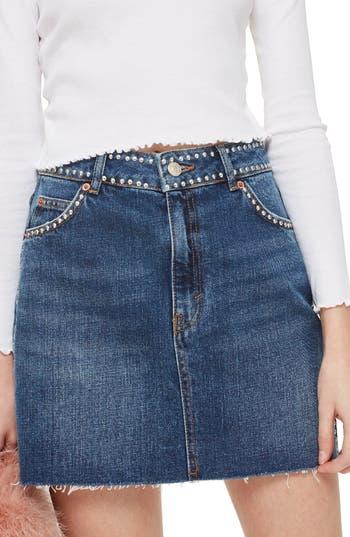 Topshop Studded Denim Skirt, US (fits like 0) - Blue