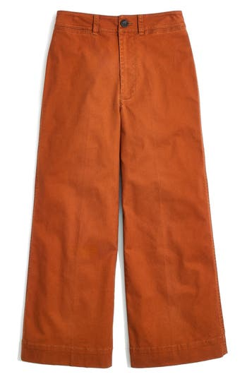 Women's Madewell Emmett Crop Wide Leg Pants, Size 24 - Pink