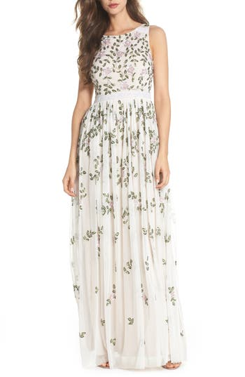 Adrianna Papell Flower Sequin Gown, Ivory