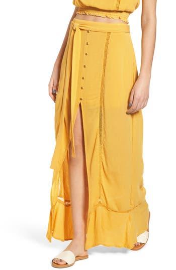 Bp. Slit Front Crochet Inset Maxi Skirt, Yellow