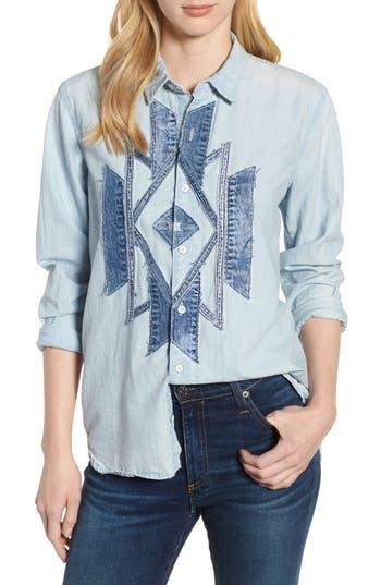 women's lucky southwestern patch shirt, size small - blue