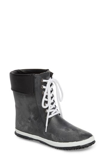 Dav Waterproof Packable Lace-Up Bootie, Black