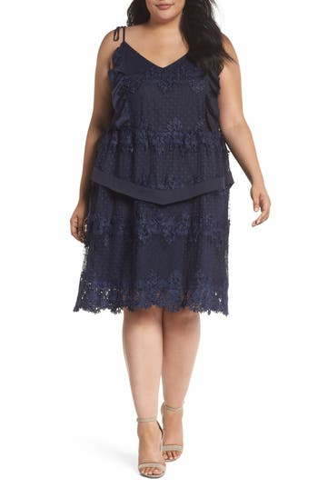 plus size women's lost ink lace swiss dot swing dress