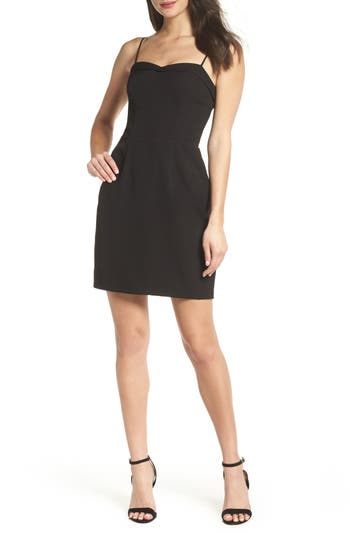 Charles Henry Fitted Corset Sheath Dress, Black