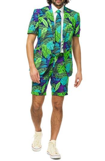 OppoSuits Juicy Jungle Trim Fit Two-Piece Short Suit with Tie