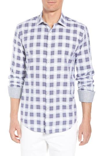 Men's Bugatchi Shaped Fit Plaid Sport Shirt, Size Small - Blue