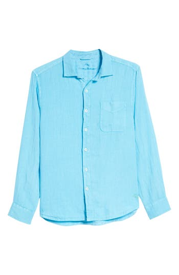 Men's Tommy Bahama Seaspray Breezer Standard Fit Linen Sport Shirt, Size Small - Blue