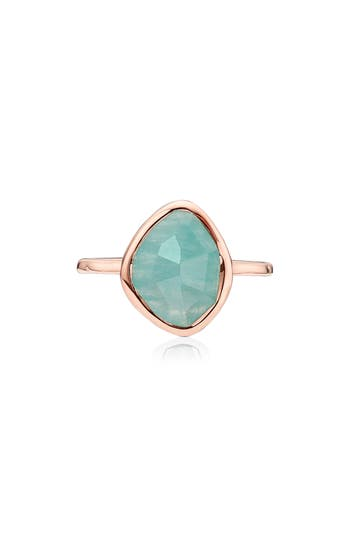 Rose Gold Siren Small Nugget Stacking Ring Amazonite Monica Vinader C7MXRBEqs