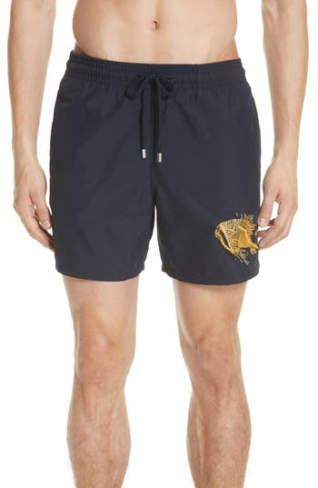 Vilebrequin Embroidered Prehistoric Fish Swim Trunks, Blue