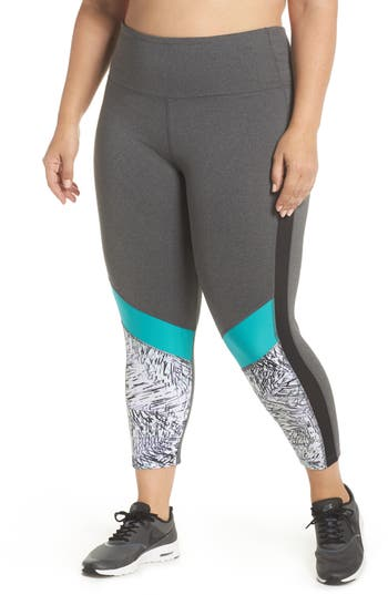 Plus Size Marika Curves Ava Palm Capri Leggings, Grey