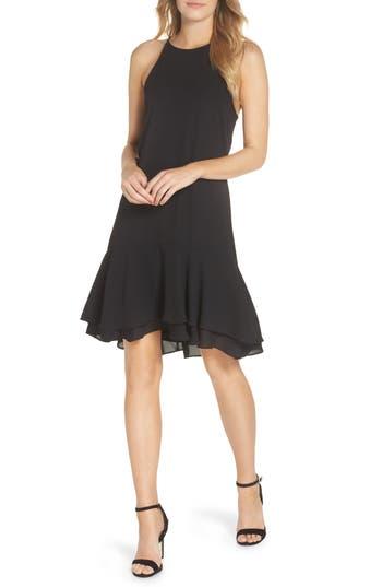Charles Henry Tiered Shift Dress, Black