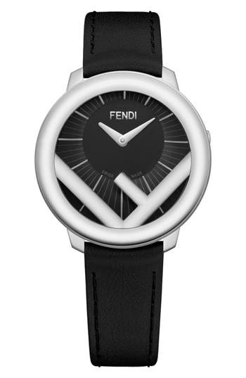 FENDI RUN AWAY LEATHER STRAP WATCH, 36MM