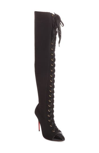 Christian Louboutin Frenchie Lace-Up Over the Knee Sock Boot (Women)