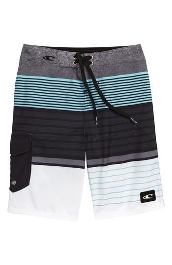 Boys ONeill Lennox Stripe Board Shorts Size 24  Grey