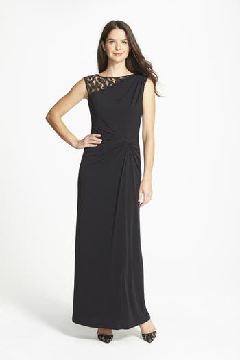 Ellen Tracy Column Gown, Black