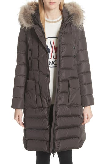 Moncler 'Khloe' Water Resistant Nylon Down Puffer Parka with Removable Genuine Fox Fur Trim
