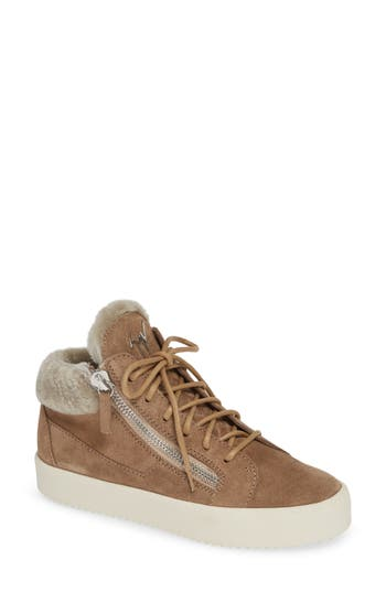Giuseppe May London Mid-Rise Lace-Up Genuine Shearling Sneaker