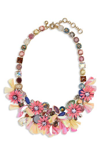 J.Crew Crystal Flower Statement Necklace