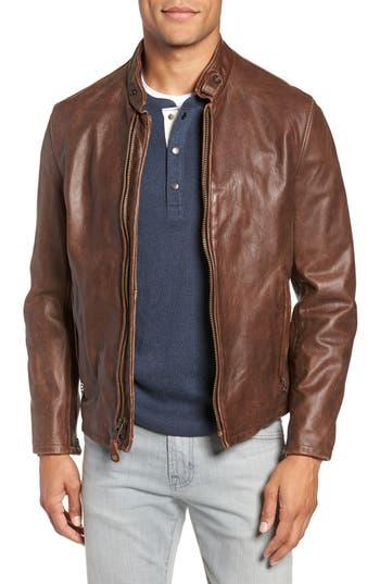 Schott NYC Café Racer Hand Vintaged Cowhide Leather Jacket