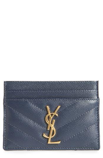 Saint Laurent Monogram Quilted Leather Credit Card Case
