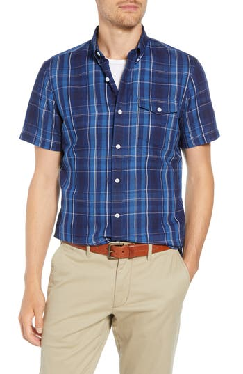 Image of Men's Big & Tall 1901 Ivy Trim Fit Plaid Cotton & Linen Sport Shirt, Size 1XB - Blue