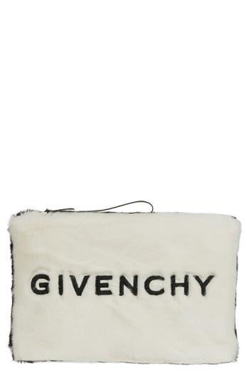 Givenchy Logo Faux Fur Clutch