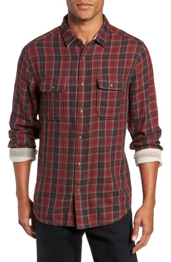 Men's Jeremiah Boulder Regular Fit Reversible Plaid Shirt, Size Small - Red