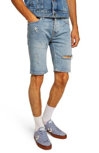 Topman Bleach Ripped Skinny Denim Shorts