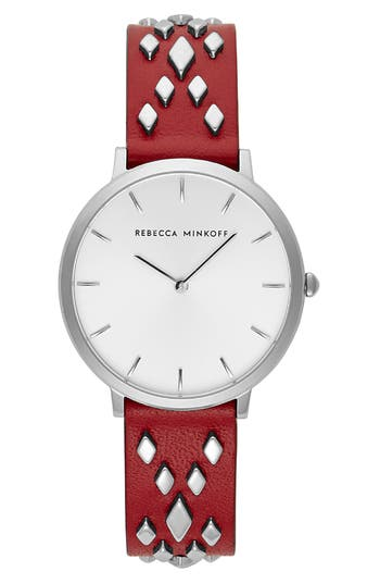 Rebecca Minkoff Major Studded Leather Strap Watch, 35mm