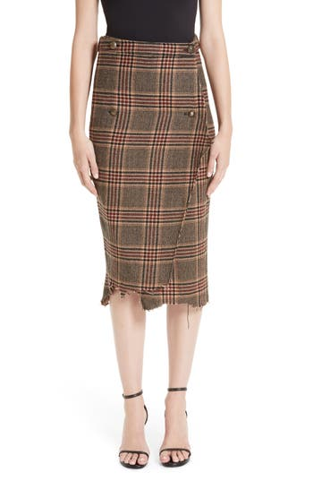 Vetements Distressed Wool Pencil Skirt