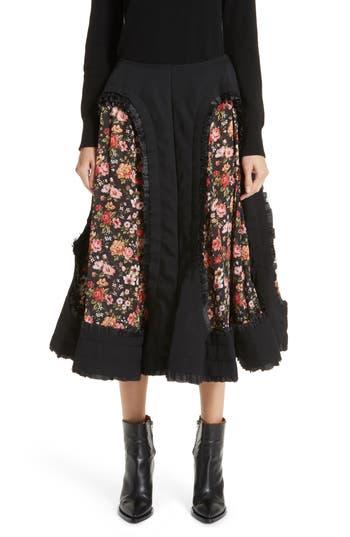 Comme des Garçons Floral Cutout Wool Gabardine Skirt