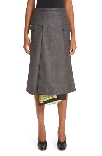 Toga Scarf Panel Wool Wrap Skirt