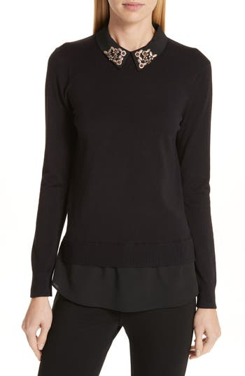 Ted Baker London Moliiee Embroidered Collar Sweater