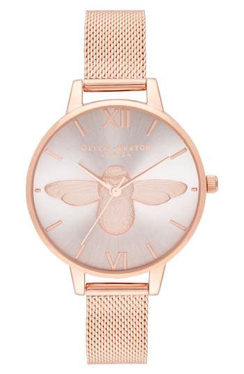 Olivia Burton 3D Bee Mesh Strap Watch, 34mm