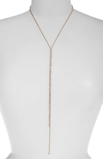 Something Navy Long Rhinestone Lariat Necklace