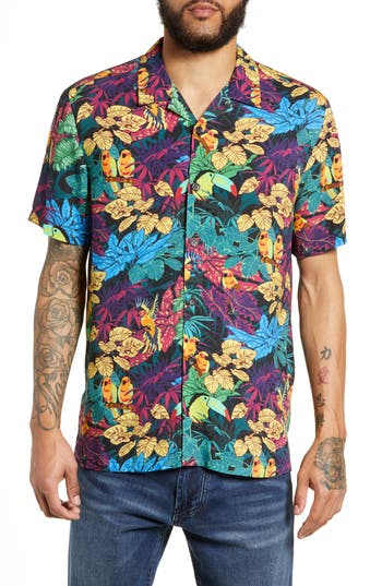 Topman Tropical Birds Classic Fit Shirt