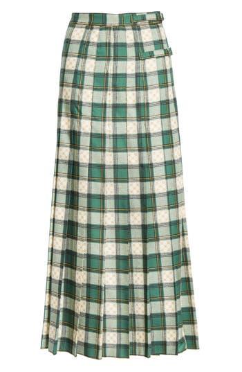 Gucci Tartan Check Wool Twill Maxi Skirt
