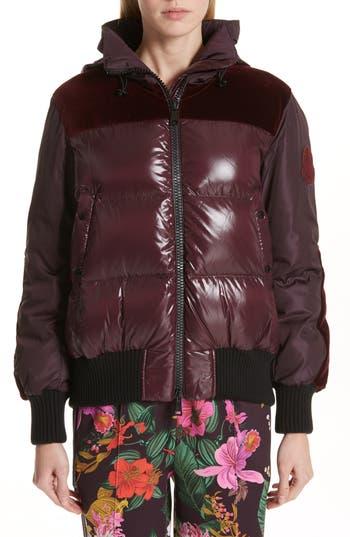 Moncler Elanion Velvet Trim Down Puffer Coat