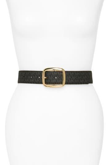 MICHAEL Michael Kors Logo Reversible Calfskin Leather Belt