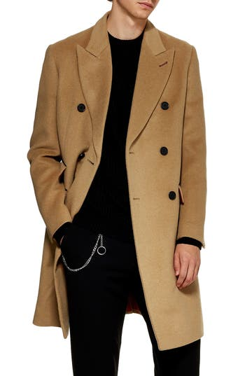 Topman Double Breasted Wool Blend Coat