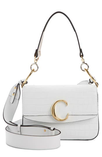 Chloé Croc Embossed Leather Shoulder Bag
