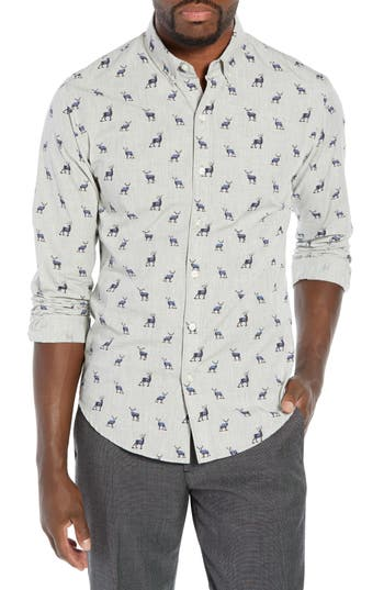Bonobos Washed Button Down Slim Fit Stag Print Sport Shirt