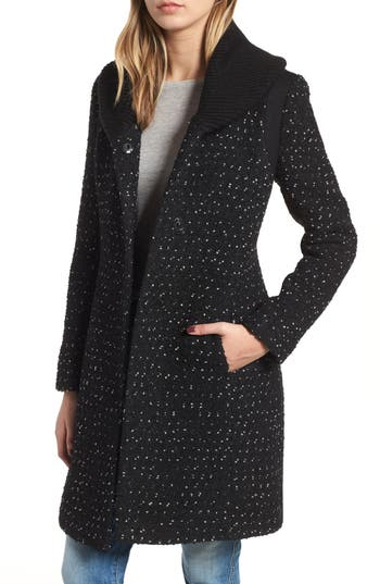 kensie Knit Collar Tweed Coat