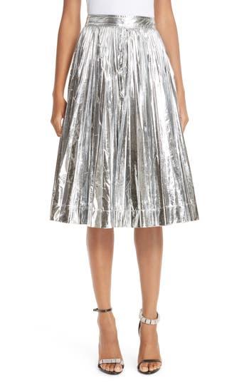 CALVIN KLEIN 205W39NYC Metallic Pleated Skirt